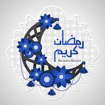 Halve maan en blauwe bloemen ramadan kareem concept