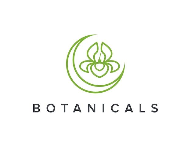 Halve maan en botanische bloem omtrek eenvoudig strak creatief geometrisch modern logo-ontwerp