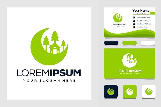 Halve maan en huis modern logo sjabloon