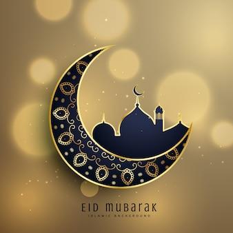 Halve maan en moskee met florale decoratie voor moslim eid festival