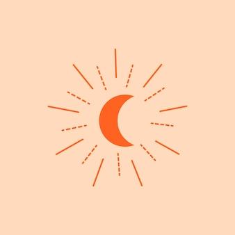 Halve maan esthetische sticker, ontwerpelement vector