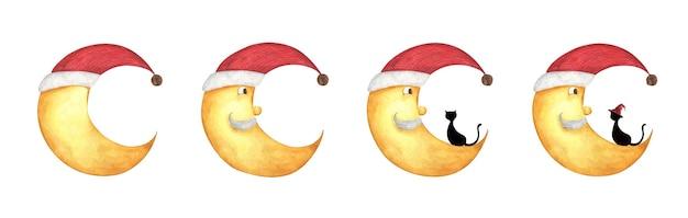 Halve maan in een rode kerstmuts, bebaarde oude man aquarel illustratie