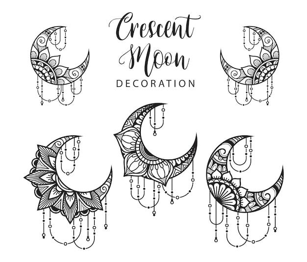 Halve maan mandala stijl, maan decoratie element collectie