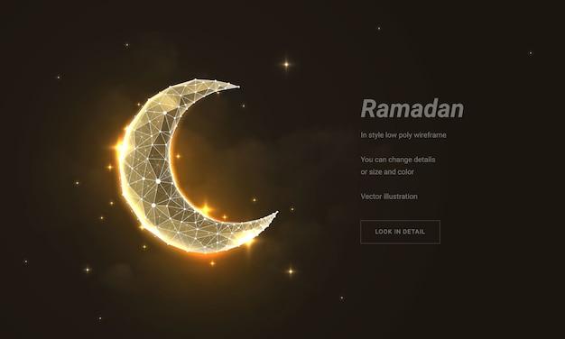 Halve maan of maan. laag poly draadframe gaas. deeltjes zijn verbonden in een geometrisch silhouet.