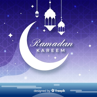 Halve maan ramadan kareem plat ontwerp