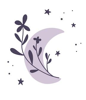 Halve maan van bloemen. mooie romantische halve maan in boho stijl. botanisch maanelement. tattoo ontwerp, logo, bruiloft uitnodiging, wenskaart, halloween decor. platte vectorillustratie.