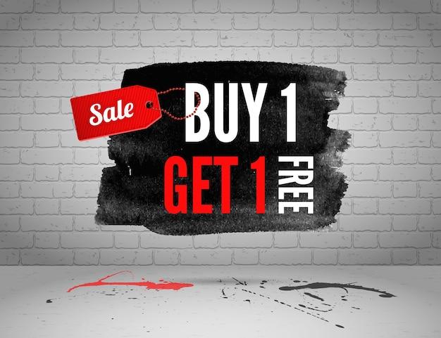 Halve prijs verkoop aquarel banner met spatten van inkt op bakstenen grunge achtergrond