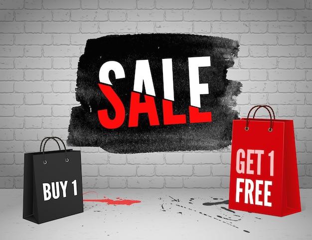Halve prijs verkoop aquarel banner met spatten van inkt op bakstenen grunge achtergrond Premium Vector