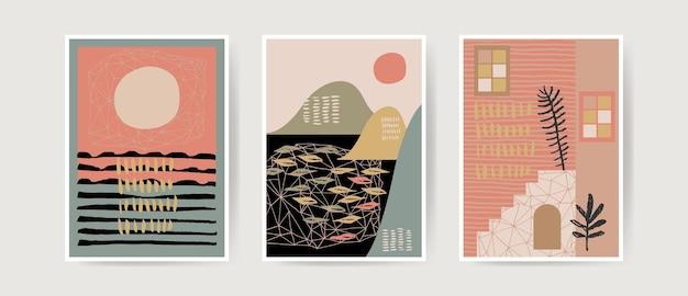 Halverwege de eeuw boho-stijl moderne abstracte landschapsafdrukken woondecoratie kunst aan de muur in neutrale kleuren