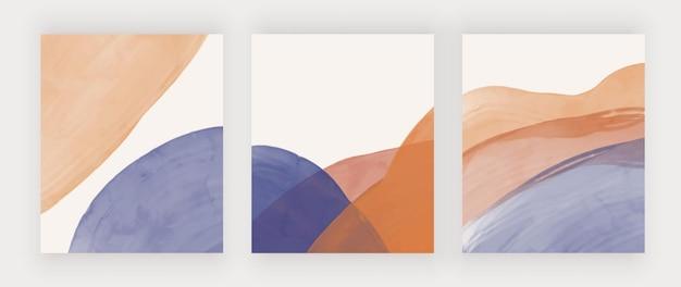 Halverwege de eeuw kunst aan de muur met blauwe en bruine vormen