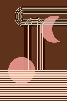 Halverwege de eeuw moderne boho patroon achtergrond art design voor poster hedendaagse wand decor