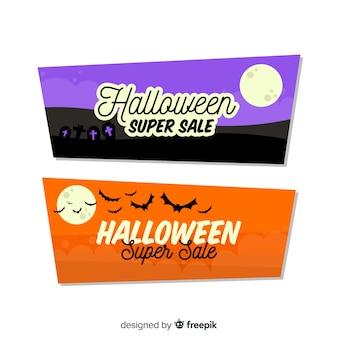 Halween oranje en paarse super verkoop banners