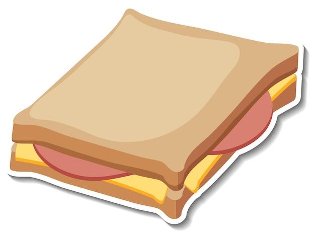 Ham kaas sandwich sticker op witte achtergrond