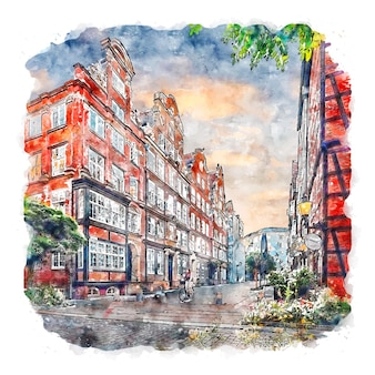 Hamburg duitsland aquarel schets hand getekende illustratie