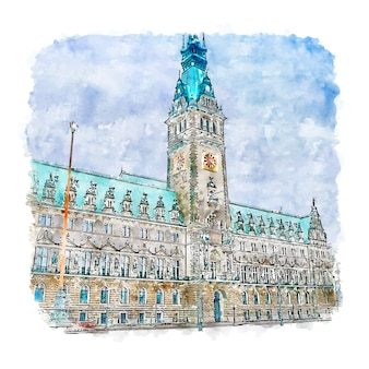 Hamburg duitsland aquarel schets hand getrokken illustratie
