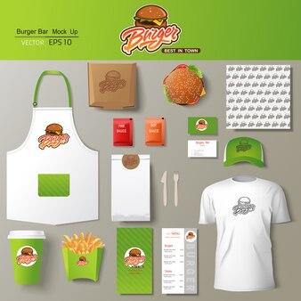 Hamburger bar huisstijl sjabloon ontwerpset.