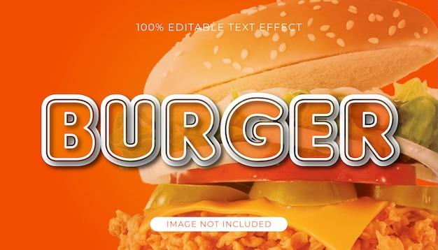 Hamburger bewerkbaar teksteffect met afbeelding
