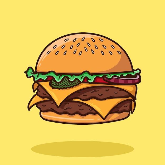 Hamburger cartoon vector geïsoleerd