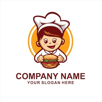 Hamburger chef-kok logo