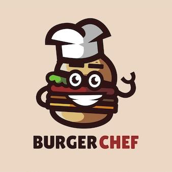 Hamburger chef-kok mascotte logo