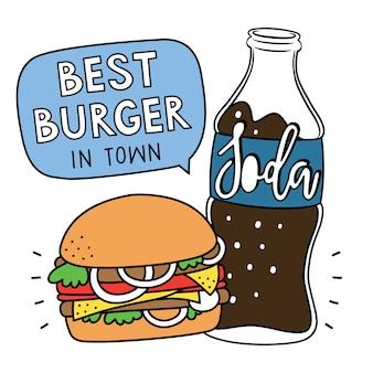 Hamburger en frisdrank afdrukken