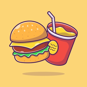 Hamburger en frisdrank drinken cartoon afbeelding. cheeseburger
