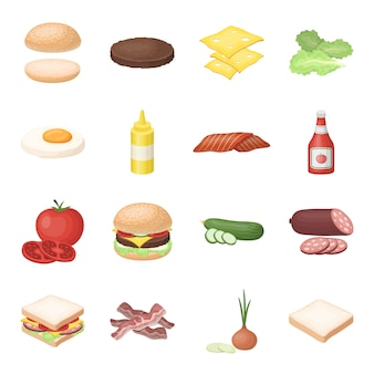 Hamburger en ingrediënten cartoon elementen in set collectie voor design.