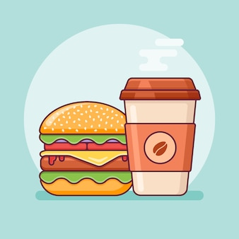 Hamburger en koffie afhaalmaaltijden platte lijn pictogram. fast food.