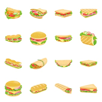 Hamburger en sandwich cartoon icon set. geïsoleerde illustratie fastfood. pictogram set van hamburger en ingrediënt.