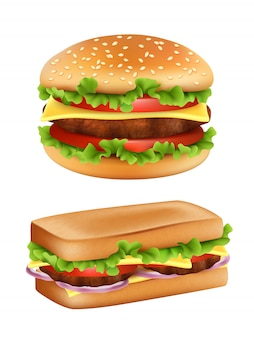 Hamburger en sandwich, fast food realistisch brood met ingrediënten salade tomaat maaltijd aardappel geïsoleerd
