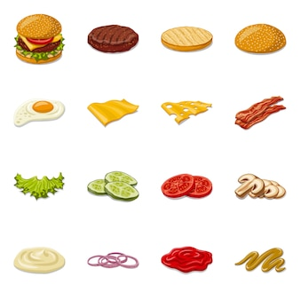 Hamburger en sandwich pictogram. stel hamburger en plak stock symbool.