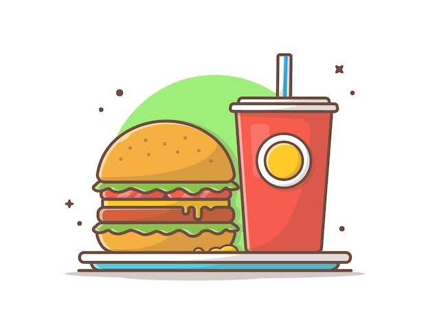 Hamburger en soda op plaat vectorillustratie