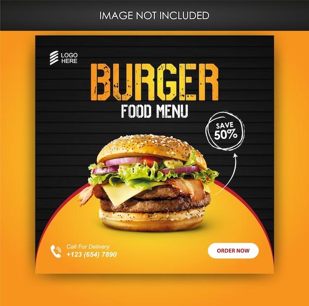 Hamburger eten sociale media promotie en banner post-sjabloon