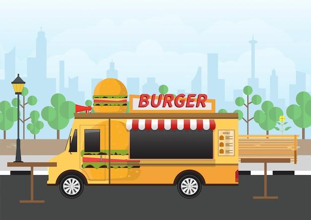 Hamburger fastfood bestelwagen op park