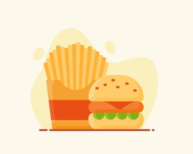 Hamburger franse frietjes populaire amerikaanse junkfood snel