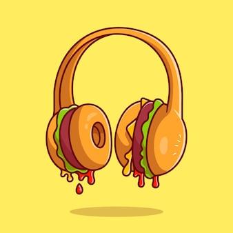 Hamburger hoofdtelefoon cartoon