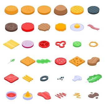 Hamburger iconen set, isometrische stijl