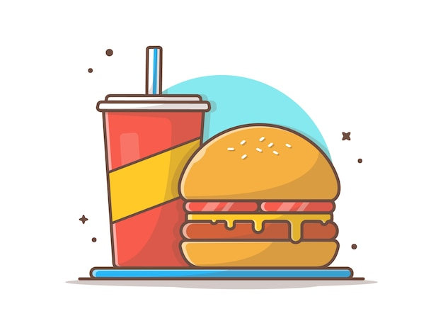 Hamburger illustraties met frisdrank en ijs vector illustraties illustratie