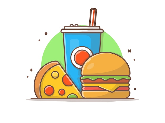 Hamburger illustraties met plak van pizza en frisdrank vector illustraties illustratie