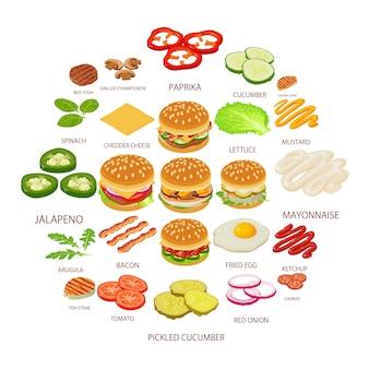 Hamburger ingrediënt iconen set, isometrische stijl