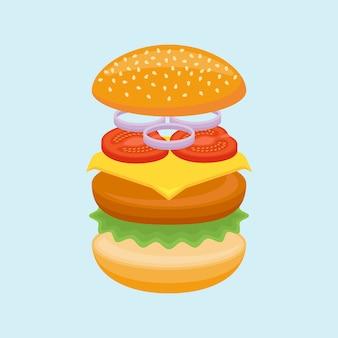 Hamburger ingrediënten. broodje, rundvlees, kaas, sla, tomaat en ui.