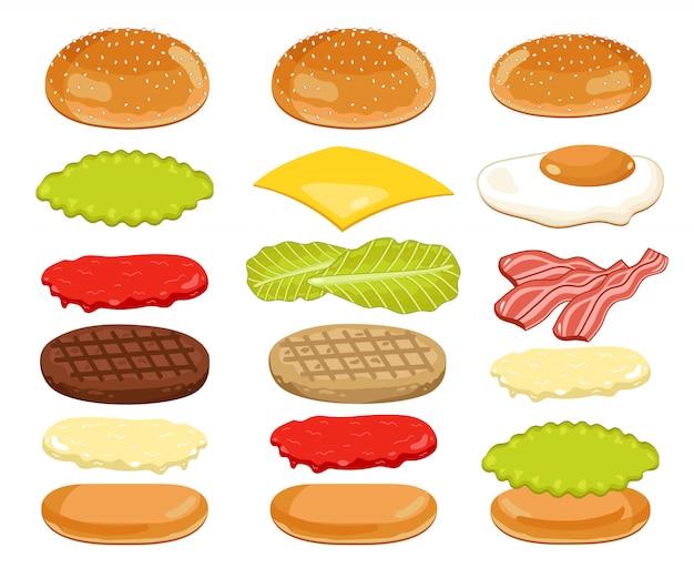 Hamburger ingrediënten ingesteld op wit