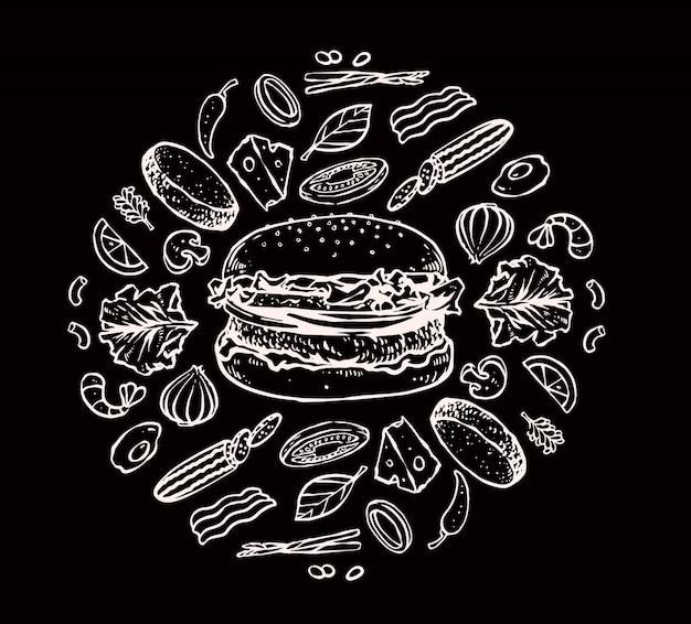 Hamburger ingrediënten set