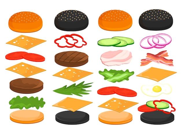 Hamburger ingrediënten voor hamburger sandwich
