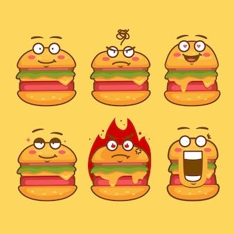 Hamburger karakter mascotte emoticon gezicht expressie concept illustratie set