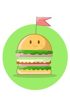 Hamburger lachende illustratie