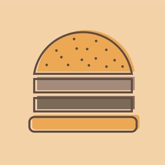 Hamburger logo embleem gekleurde vorm lijnstijl - vectorillustratie