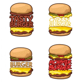 Hamburger logo voorraad vector set
