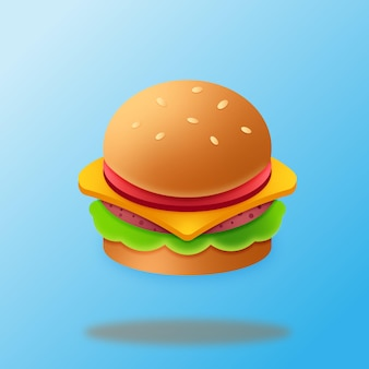 Hamburger met sesamzaadjes met schaduwen in close-up op een blauwe achtergrond, vectortekening