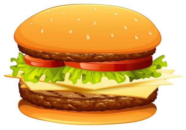 Hamburger met vlees en kaas